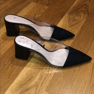 Zara women's clear heel slides